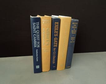 Navy Sunflower Yellow Books - Shades of Blue Gold Yellow - Books for Decor - Instant Library - Vintage Bookshelf Decor