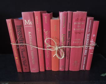 Colorful Berry Coral Shades Books by The Foot -  Books for Decor  - Books by Color - Vintage Books