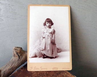 Cabinet Card Antique Photo Child with Blanket - 1800s Photo of little Girl with Necklace