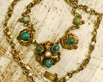 Beautiful Austro Hungarian Green Blue Persian Turquoise Pearl Gold Sterling Silver Antique Necklace
