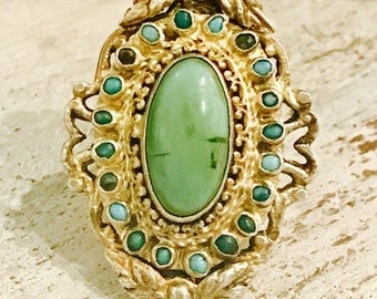 Beautiful Austro Hungarian Green Blue Persian Turquoise  Gold Sterling Silver Antique Ring