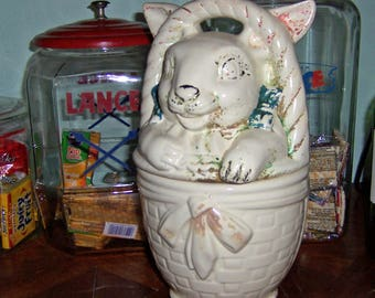 """American Bisque Bunny in a Basket Cookie Jar, Vintage 1940s Ceramic Pottery Rabbit, Original Pink and Blue Cold Paint, 12"""" by 8"""""""