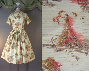 50s dress 1950s vintage PARIS NOVELTY PRINT coral tan cream cotton fit and flare full skirt dress