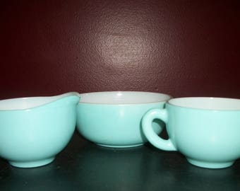 Vintage Hazel Atlas Crinoline Turquoise Blue CREAM & SUGAR SET