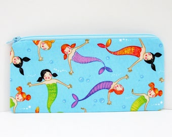 Pencil Pouch, Long Zippered Bag, Mermaid Girls in Blue Sea