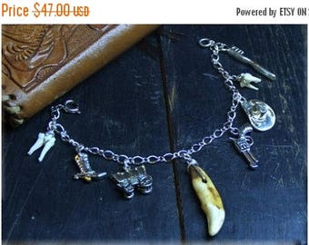 Doc Holliday, bracelet. Coyote tooth, small molars, toothbrush, pistol, cowboy western dentist outlaw handmade charm bracelet