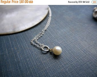 SALE 14K Gold Cultured Pearl & Diamond Pendant Necklace. Sterling Silver chain. Dainty Romantic Delicate Bridal Necklace