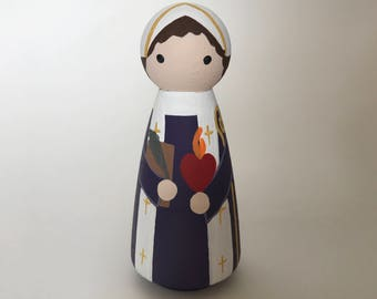 St. Augustine of Hippo - Wooden Peg Doll