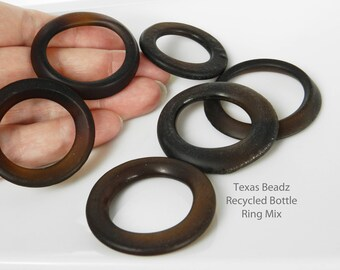 Recycled Glass Bottle Rings Brown Sea Glass Beads Frosted Round Amber Glass Pendants