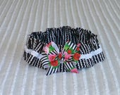 """Custom for CathyW - Little Black Dress Dog Scrunchie Collar with striped rose bow - Size XXL: 20"""" to 22"""" neck"""