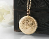 Antique Locket | 4 Photo Victorian Locket, 9ct Gold Front & Back Locket Necklace | Love Token Wedding Locket, Bridal Gift - 20 Inch Chain