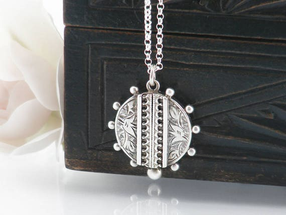 Antique Sterling Silver Charm, Small Victorian Pendant | Ornate Etruscan Revival Sterling Silver Pendant, Silver Beaded Edge - 20 Inch Chain