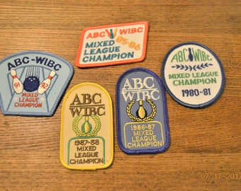 5 Vintage Bowling Patches ,All 5 are  ABC – WIBC  Mixed League Champion Patches 1980 ,81,85,86,87,88,91,92