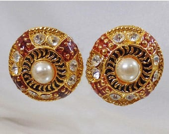 SALE Vintage Bold Gold Rhinestone Earrings. Brown and Black Enamel and Rhinestone Earrings.