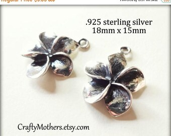 7% off SHOP SALE One Bali Sterling Silver Plumeria Flower Charm, 18mm x 15mm, OXIDIZED, earrings, necklace, bracelet, artisan-made
