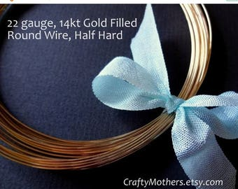 7% off SHOP SALE 22 gauge 14kt Gold Filled Wire - Round, Half HARD, 14K/20, wire wrapping, precious metals - Select a Length