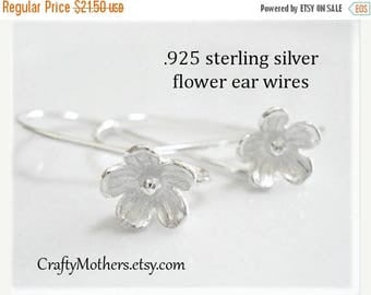 8% off SHOP-WIDE, FIVE Pairs Bali Sterling Silver Large Flower Ear Wires (10 pieces), 25mm x 15mm, artisan-made supply