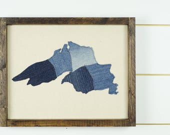 Lake Superior wall art, great lakes art, lake superior map, wall hanging, lake Sign, framed art, state artwork, denim art, framed home decor