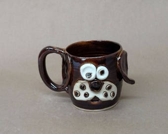 Black Coffee Mug. Handcrafted Stoneware Pottery Cups by Nelson Studio. Funny Black Lab Puppy Gift. Microwave Dishwasher Safe Wheel Thrown.