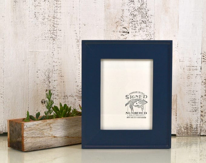 """6x8"""" Picture Frame in Oslo Slope Style with Solid Navy Blue Finish - IN STOCK - Same Day Shipping - 6 x 8 Picture Frames"""