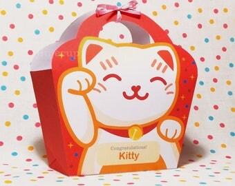 Kawaii Red Lucky Cat Giftbag Cute Love Manekineko Neko Birthday Party Treat basket Bag Packaging Editable Printable PDF