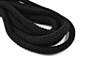 "Braided ""Larousse"" silk cord, 9mm black thick cord, 1m"