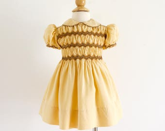 "Vintage 1950s Girls Size 12-18M Dress / One Piece Butterscotch Yellow Silk Hand Smocked Dress From Paris / b16-20"" L16.5-18"""