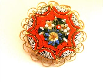 Colorful  Floral Round micro mosaic Brooch - 1950s splendidly detailed artistic Florentine micro mosaic brooch pin-Art.309/2