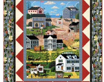 Quilt Kit Charles Wysocki Quilting Fabric Kit Fabrics Quilts Summer Seashore Beach Folk Art Country Sewing Farmhouse Town Country