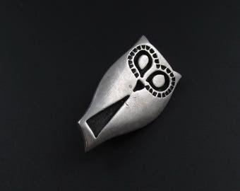Vintage Rune Tennesmed Pewter Owl Brooch, Tennesmed Owl Brooch, Bird Brooch, Swedish Pewter Jewelry