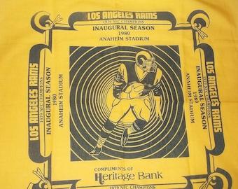 Vintage Los Angeles RAMS Bandanna • Inaugural Season 1980 Anaheim Statium • 1979 NFC Champions • advertisement bandana