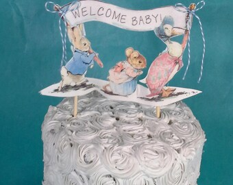 Shabby Chic Peter Rabbit cake topper, fabric Peter Rabbit baby shower decoration G253