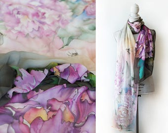 Silk Shawl Bees and Peonies Hand Painted Silk Chiffon Scarf Pashmina Ready to Ship