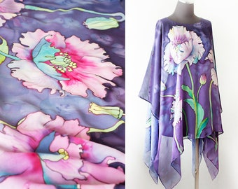 Hand Painted Silk Tunic Floral Caftan Ready to Ship