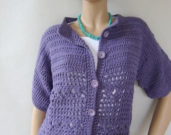 ON SALE Crochet Cardigan, Blue Cardigan, Cotton Cardigan, Crocheted Cardigans, Cardigan Sweaters, Blueberry Jacket, Available in M and L/Xl
