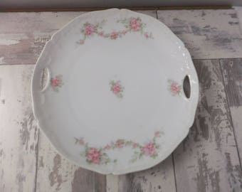 "Vintage Bavaria Cake Plate Hand Painted White with Pink Roses Scalloped Edge 9.5"" Victorian Serving Floral Flowers"