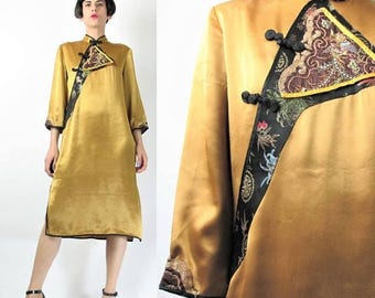 25% off Summer SALE Vintage Chinese Embroidered Dress Gold Silk Dress Cheongsam Dress Mandarin Collar Asian Dress Brocade Traditional Qipao