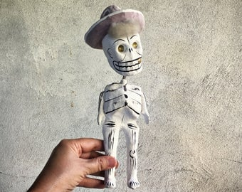 Vintage Mexican Day of the Dead skeleton old man with hat paper mache Calavera