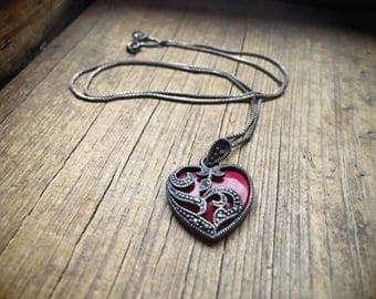 Vintage sterling silver marcasite necklace with red heart jewelry necklace