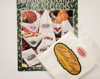 """Charles Craft 14ct Warm White Bread Cover 18""""x18"""" and Cross Stitch Pattern Booklet, Christmas Towels & Bread Cloths"""