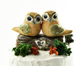 Owl wedding cake topper with 24k gold trim, hand crafted by Anita Reay Woodland wedding bridal shower cake topper Owl always love you