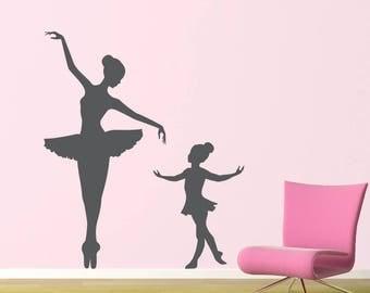 Big Ballerina Little Ballerina Decal Set - Girl Bedroom Decor - Dancing Wall Sticker - Ballet Wall Art