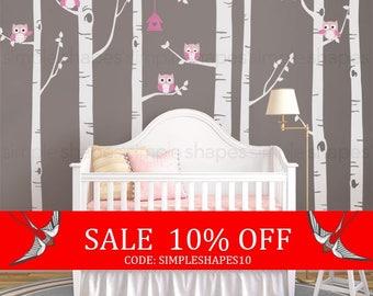 Summer Sale - Birch Tree With Owls Wall Sticker Set, Birch Tree Decal, Baby Nursery Wall Stickers, Nursery Wall Decals, Tree and Owl Decals