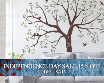 Independence Day Sale - Organic Giant Family Tree Wall Decal, Staircase Family Tree Wall Decal, Tree Wall Decal Sticker, Baby Nursery Tree