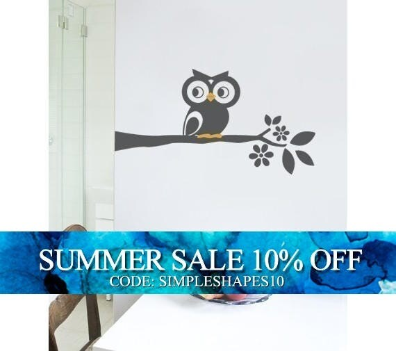 Owl on a Branch Decal - Cute Vinyl Wall Sticker