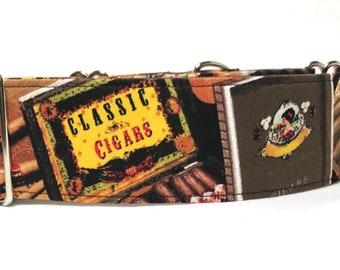 Martingale Collar, Have a Cigar, Martingale Dog Collar, Greyhound Collar, 1.5 Martingale, 2 inch Martingale Collar, Italian Greyhoun
