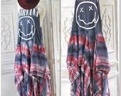 Sale Nirvana grunge Festival Dress, Burning man Boho Vintage Rock Concert Tshirt, Music Festival Gypsy Hippie Bohemian, True Rebel Clothing