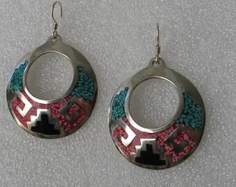 """Vintage Inlay and Alpaca 1 1/2"""" Hoop Earrings"""
