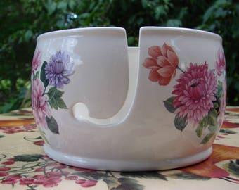 Bright Pink & Lavender Mums! Ceramic Yarn Bowl / Yarn Holder