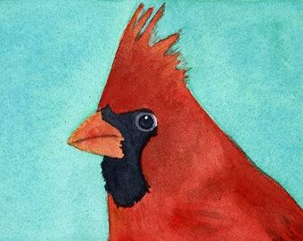 Cardinal, red bird original watercolor, red and blue, bird art, bird face, portrait, Christmas bird, bird head, matted art, red and black